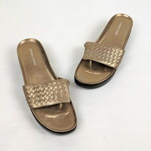 Donald J. Pliner Gold Texture FiFi Thong Sandals